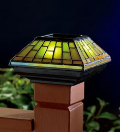 Stained Glass Solar Cap Light