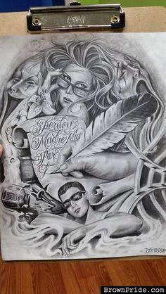 R Chicano Tattoos Sleeve, Chicano Style Tattoo, Chicano Love, Gangster Drawings, Chicano Drawings, Art Drawings, Arte Lowrider, Chicanas Tattoo, Graffiti