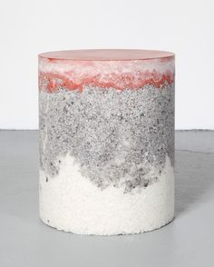 New York-based AMMA Studio combine unexpected materials like sand, coffee, silica BB pellets and pink himalayan salt with cement and resin to create these stools.