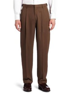 Haggar Men's Mynx Gabardine Hidden Expandable Waist Pleated Dress Pant,Oak,42x32 Haggar. $32.62