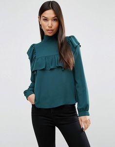 Asos high neck blouse with ruffle sheer bib