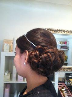 Low updo.  Wedding hair.  Bride.