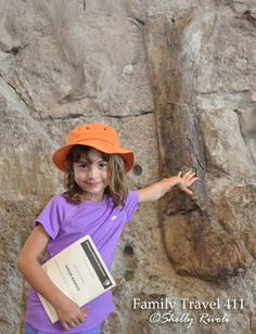 "Touching a REAL dinosaur fossil! More in ""Jurassic Pilgrimage: Visiting Dinosaur National Monument with Kids"" http://www.familytravel411.com/visiting-dinosaur-national-monument-with-kids/"