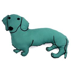 decorative pillow, big dachshund, animal shaped pillow, dog shaped pillow softie dark hunter green fabric by pattihaskins on Etsy