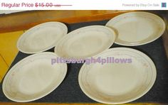 Luck Of The Irish 5 - Corelle - Rose - Bread and Butter Plates - Sandstone,Beige by pittsburgh4pillows on Etsy