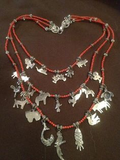 Image of Sterling and Coral Milagro Necklace from Oaxaca Mexico