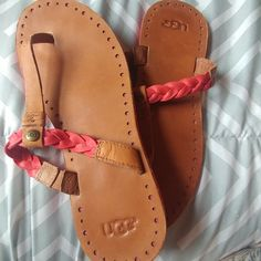 8a84d4baa6 UGG Shoes | Uggs Bria Braided Coral Sandals | Color: Brown/Pink | Size
