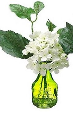 White Hydrangea in Green Glass Vase