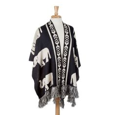 New Reversible Fashion Elephant Shawl Cape Wrap Black and Ivory Knit with Fringe