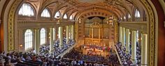 Woolsey Hall, where many university ceremonies take place, holds the five-story, 12,617-pipe Newberry Memorial Organ, one of the world's largest musical instruments