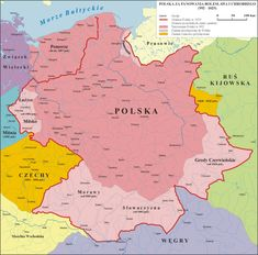Polska 992 - 1025 - History of Poland - Wikipedia, the free encyclopedia Touch Math, Poland History, Germany Poland, Visit Poland, Poland Travel, Early Middle Ages, 11th Century, Historical Maps, My Heritage