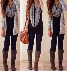 Long boots, grey scarf, leggings and cute sweater | Fashion World