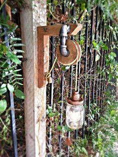 Vintage look pulley mason jar light. Steampunk  by Goodwoodshop, $79.99