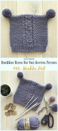 Mishka Hat Knitting Free Pattern - Baby & Kids Beanie Free Patterns for kids hats Baby & Kids Beanie Hat Free Knitting Patterns Kids Beanies, Beanie Babies, Kids Hats, Knitted Hats Kids, Knitting For Kids, Free Knitting, Free Baby Knitting Patterns, Sock Knitting, Baby Hats Knitting