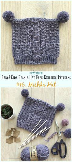 Gorro com pompom · Mishka Hat Knitting Free Pattern - Baby   Kids Beanie   Hat  Free  Knitting 12b85b2b4bc