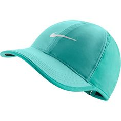 Women's Nike Featherlight Dri-FIT Hat, Light Aqua ($22) ❤ liked on Polyvore featuring accessories, hats, light aqua, embroidered baseball hats, embroidered ball caps, nike hat, baseball hats and embroidered hats
