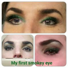 "First ""color smokey eye"" in Canada Green shade: web app fake rendering versus real final result with/without flash. Overall satisfied with the work but Still lot to improve....any tips???"