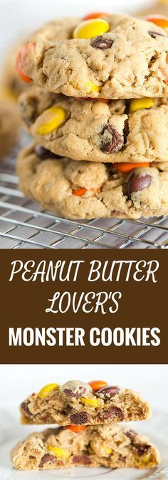 Peanut Butter Lover's Monster Cookies - A peanut butter dough loaded with oats, chocolate chips, peanut butter chips and Reese's Pieces! Go bake these NOW!   browneyedbaker.com