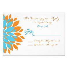 Teal and Orange Simple Flowers Wedding RSVP Cards