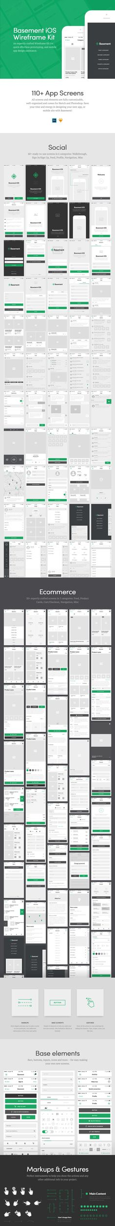 Basement-iOS Designmodo Market - UI Kits - Ideas of UI Kits - Basement iOS on Market (market. App Wireframe, Wireframe Design, App Ui Design, User Interface Design, Mobile Wireframe, Design Thinking, Motion Design, Graphisches Design, Flow Design