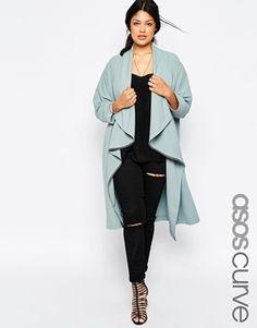 ASOS CURVE – Duster-Jacke mit Wasserfalldesign vorne