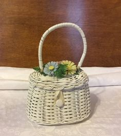 Vintage Child's White Wicker Easter Basket Purse with Plastic Flowers by RickettyAttic on Etsy