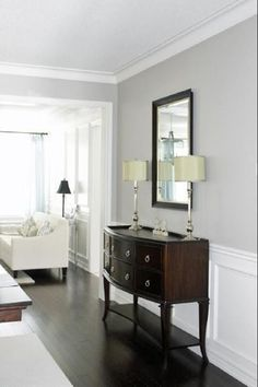 Revere Pewter paint color, Benjamin Moore. looks awesome with dark wood floors and white trim