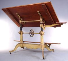 Exceptional Antique Cast Iron Drafting Table by Keuffel & Esser For Sale 1