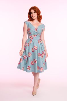 Emily & Fin Florence Dress in Floating Daisies Print | Pinup Girl Clothing