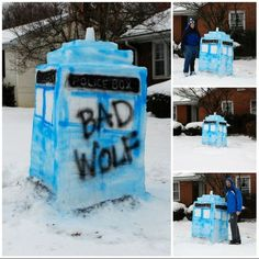 Wanna build a snowman? Nah. Snow TARDIS.