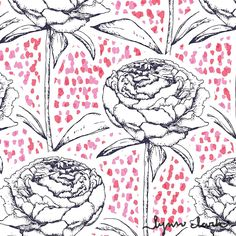 georgian bay brights by lynn clark design.  hand drawn with pen and ink detailing.  classic and romantic wallpaper or surface design #surfacedesign, #pattern