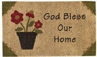 """God Bless Our Home Doormat by Primitive Home Decors. $23.95. God Bless Our Home Doormat 29"""" Wide x 17"""" Long 70% Coir 30% Vinyl Durable coir bristles. Absorbs moisture and traps dirt. Mildew resistant. Hand painted colorfast non-toxic dyes. Skid resistant. Priced and sold individually. Designed and manufactured by Park Designs."""