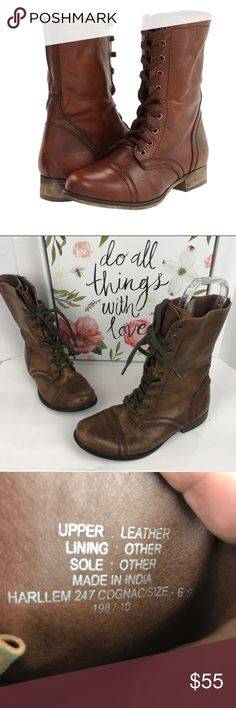 Steve Madden sz 6.5 Brown combat boots lace up Very cute combat boots  Size 7.5 The soles show sign of wear  The heels are well worn  In the upper part of the. Boots are not flaws Feel free to ask question/ open to offers.  Please see pictures as part of the description. Steve Madden Shoes Combat & Moto Boots