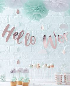 We love this rose gold baby shower bunting from our Hello World baby shower supplies. The perfect addition to your baby shower decorations! Pick yours up at partydelights.co.uk.