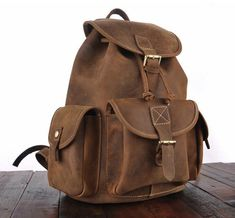 Inspired by classic designs, this vintage leather backpack without a doubt spices up any classic or vintage attire. Handmade from top-quality oil-pull full-grai