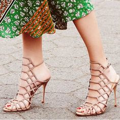 Missguided Laser Cut Heels in Nude Sold out! Exact dupes of the Schutz Juliana Heels. Right on trend. Own the real pair so don't need these. Listed for exposure brand is missguided. NO TRADES SCHUTZ Shoes Heels
