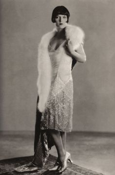 """""""When I went to Hollywood in 1927, the girls were wearing lumpy sweaters and skirts… I was wearing sleek suits and half naked beaded gowns and piles and piles of furs."""" -Louise Brooks"""