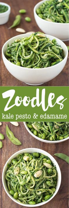 Zoodles (zucchini noodles) with kale pesto and edamame: an healthy recipe perfect for lunch or dinner. Vegan and gluten-free.