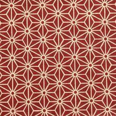 Tissu japonais sevenberry - motif traditionnel géométrique asanoha fond bordeaux
