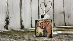 OUR LOVE STORY Ornament, He Asked, She said Yes, Just Married, Photo Ornament, Wooden Block Ornament, Newlywed Ornament, Mr & Mrs Ornament