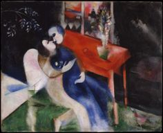 The Lovers- Marc Chagall. Fairy-tale details of a Russian town can be seen through the window of Chagall;s imaginary scene of his room in Vitebsk painted in Paris. The lovers represent the artist with his fiancee Bella Rosenfeld. Marc Chagall, Chagall Paintings, Art Du Monde, French Artists, Metropolitan Museum, Les Oeuvres, Art History, Oil On Canvas, Van Gogh