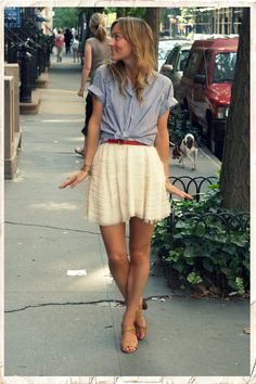 lace skirt and chambray