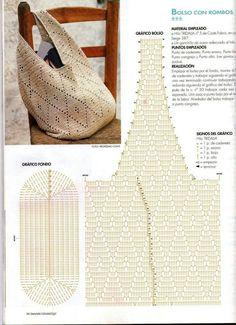 Crochet Bags Design sac de plage une piece crochet bag with pattern - Crochet Tote, Crochet Handbags, Crochet Purses, Love Crochet, Diy Crochet, Crochet Ideas, Beautiful Crochet, Crochet Diagram, Crochet Chart