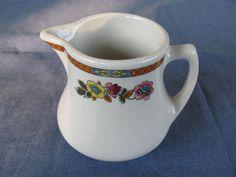 Vintage Shenango China Creamer Flower and GeometricTrim, by DishDashKitchenCo, $14.00