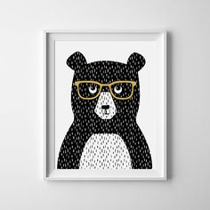 Bear In Yellow Glasses Cute Animal Instant par HoneycombEtc