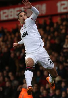Dutchman Robin van Persie shows his excitement after he makes it 1-0 to @manutd in the 2-0 win at Selhurst Park against Crystal Palace in 2014.