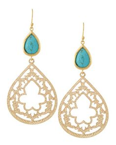 Turquoise Bead & Filigree Double Drop Earrings by Panacea at Neiman Marcus Last Call.