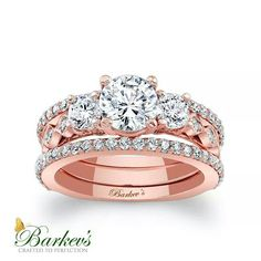 This unique rose gold bridal set features a three stone diamond engagement ring with diamonds embellishing the shank down the sides. A diamond wedding band set with diamonds snuggles up to the side adding an elegant finishing touch. Wedding Rings Rose Gold, Rose Gold Engagement Ring, Diamond Wedding Bands, Oval Engagement, Morganite Engagement, Bridal Ring Sets, Bridal Rings, Wedding Jewelry, Gold Jewelry