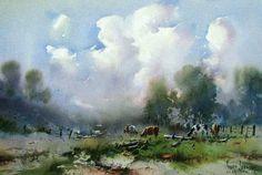 Ivars Jansons (b. 1939, Latvia - Australia)  Afternoon Clouds, Western Victoria. watercolour. 34 x 52 сm.