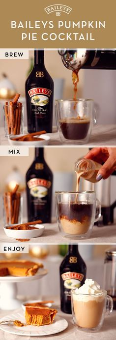 Baileys™ Pumpkin Pie cocktail, add Baileys™ Original Irish Cream to espresso (or strongly-brewed coffee.) Stir in 1 tsp pumpkin pie spice and top with whipped cream and a sprinkle of cinnamon. There's no better drink to get into the holiday spirit! Winter Drinks, Holiday Drinks, Party Drinks, Cocktail Drinks, Thanksgiving Alcoholic Drinks, Drunk Party, Cocktail Shaker, Pumpkin Recipes, Fall Recipes